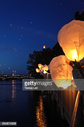Lanterns being released at night