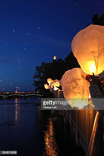 Lanterns being released at night