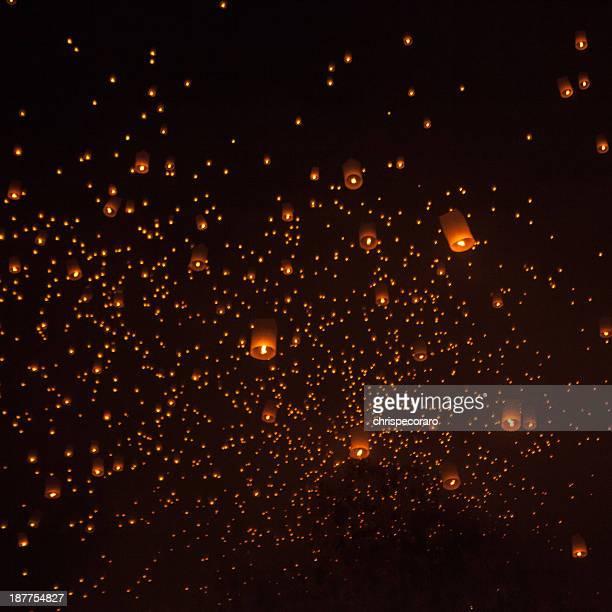 Lanterns Fill the Vast Night Sky during Loi Krathong