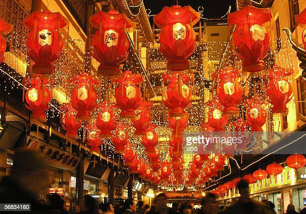 Lanterns hang on display at Shanghai Nanjing Road to celebrate the Lantern Festival on February 12 2006 in Shanghai China The Lantern Festival or...