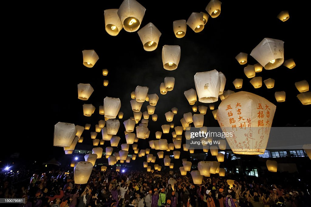Lanterns launching into sky