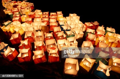 Lanterns lit on Hirosawa Pond,Kyoto : Stock Photo