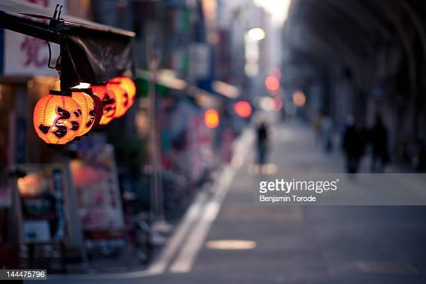 Lanterns outside restaurant on Tokyo street