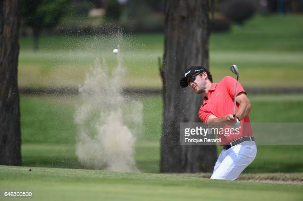 Lanto Griffin of the United States hits out of a bunker on the fourth hole during the final round of the PGA TOUR Latinoamerica 70 Avianca Colombia...