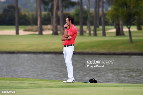 Lanto Griffin of the United States reacts to missing a par putt on the 18th green during the final round of the PGA TOUR Latinoamerica 70 Avianca...