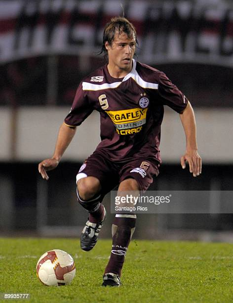 Lanus' player Matias Fritzler in action during the Copa Nissan Sudamericana 2009 match against River Plate on August 19 2009 in Buenos Aires Argentina