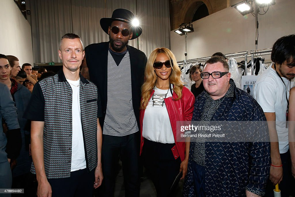 Lanvin men fashion designer Lucas Ossendrijver, Basketball player, Amar'e Stoudemire with his wife Alexis and Fashion Designer Alber Elbaz pose Backstage prior the Lanvin Menswear Spring/Summer 2016 show as part of Paris Fashion Week. Held at 'Ecole Nationale Superieure des Beaux Arts' on June 28, 2015 in Paris, France.