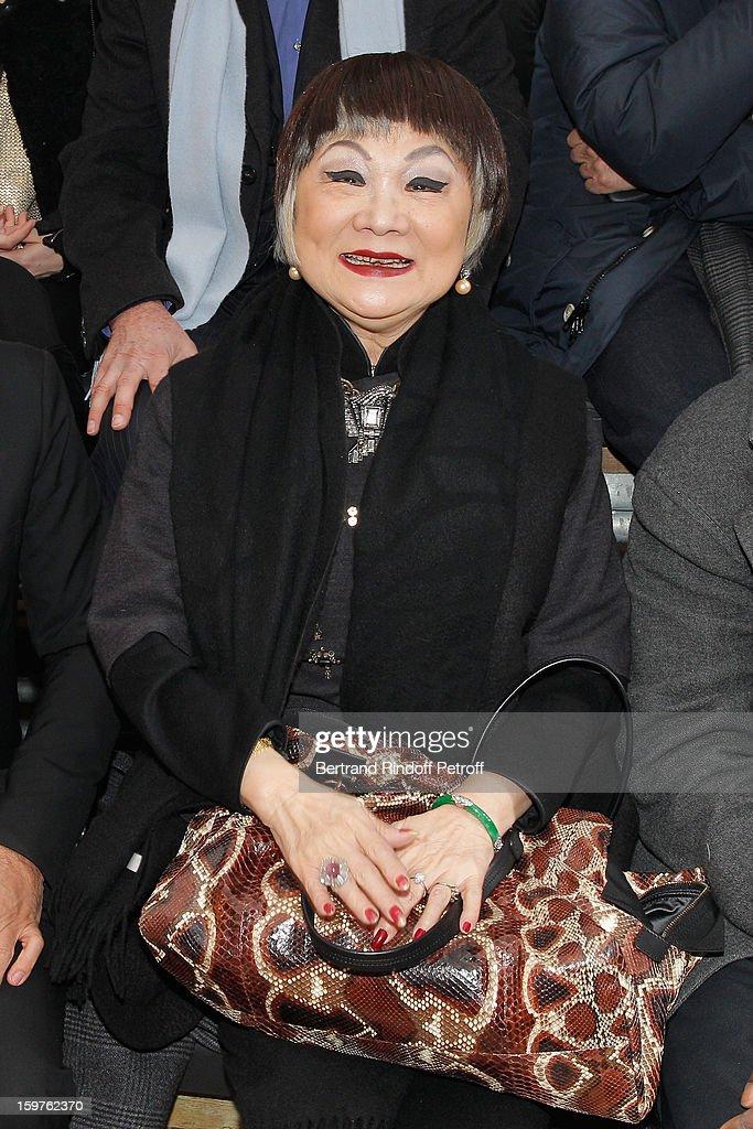 Lanvin's owner, Shaw Lan Wang, attends the Lanvin Men Autumn / Winter 2013 show at Ecole Nationale Superieure Des Beaux-Arts as part of Paris Fashion Week on January 20, 2013 in Paris, France.