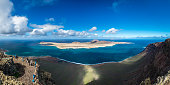 Panoramic view from the Mirador del Rio viewpoint over the La Graciosa island by the northwestern tip of Lanzarote.