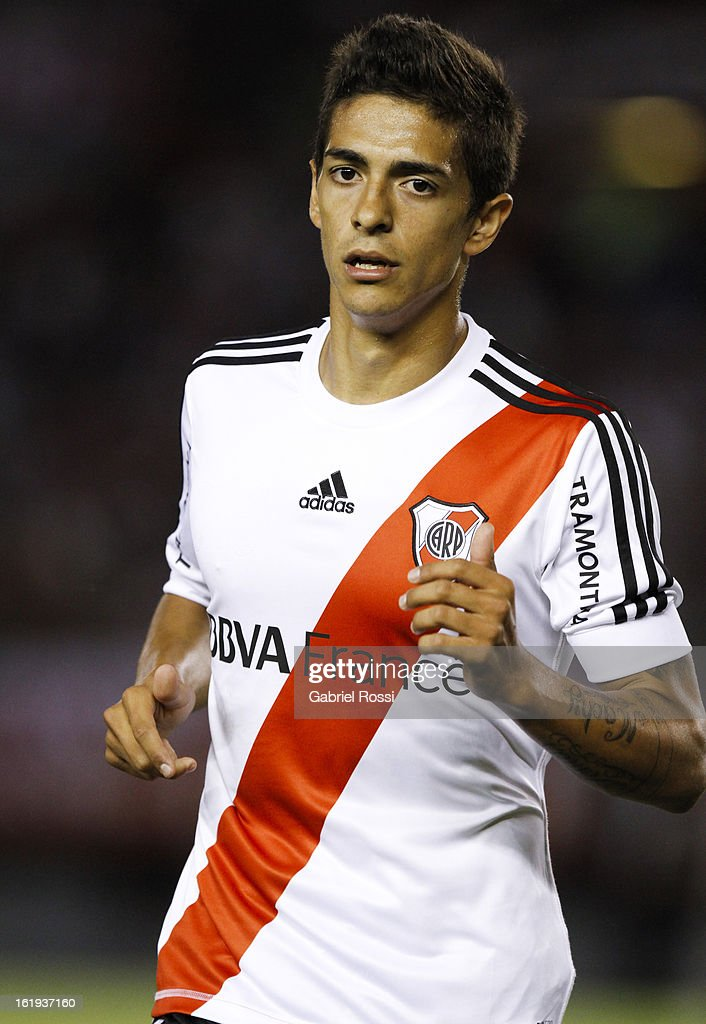 Lanzini of River Plate during the match between River Plate and Estudiantes of Torneo Final 2013 on February 17, 2013 in Buenos Aires, Argentina.