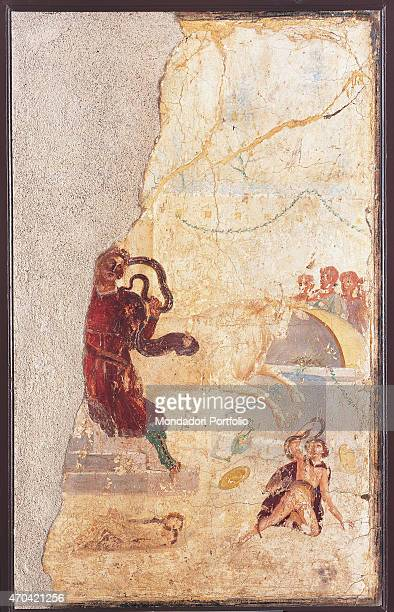 'Laocoon by unknown artist 3745 1st Century AD ripped fresco 132 x 72 cm Italy Campania Naples National Archaeological Museum Room LXXIII inv 111210...