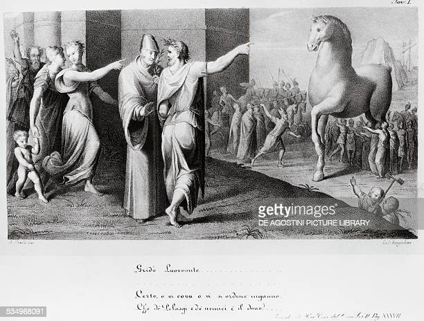 Laocoon tries to persuade the Trojans not to bring the wooden horse inside the city walls Book II Aeneid by Virgil lithograph 1st century BC