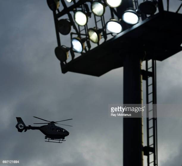 Laois Ireland 3 June 2017 A Garda helicopter patrols the skies over O'Moore Park after the Leinster GAA Football Senior Championship QuarterFinal...