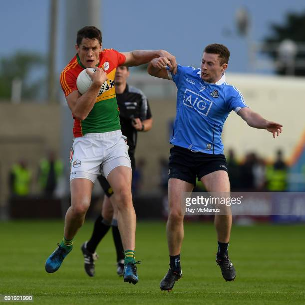 Laois Ireland 3 June 2017 Brendan Murphy of Carlow in action against Jack McCaffrey of Dublin during the Leinster GAA Football Senior Championship...