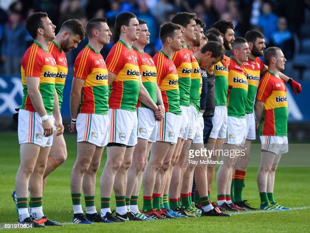 Laois Ireland 3 June 2017 Carlow players stand for the National Anthem before the Leinster GAA Football Senior Championship QuarterFinal match...