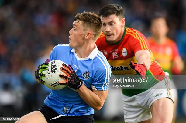 Laois Ireland 3 June 2017 Con O'Callaghan of Dublin in action against John Murphy of Carlow during the Leinster GAA Football Senior Championship...