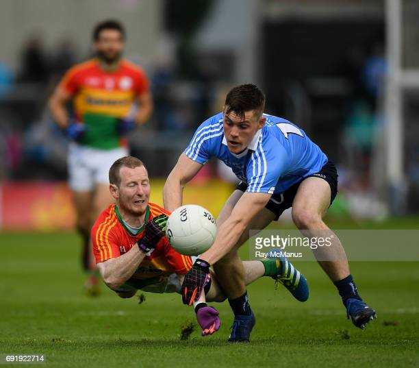 Laois Ireland 3 June 2017 Danny Moran of Carlow in action against Con O'Callaghan of Dublin during the Leinster GAA Football Senior Championship...