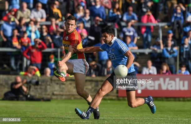 Laois Ireland 3 June 2017 Darragh Foley of Carlow in action against Cian O'Sullivan of Dublin during the Leinster GAA Football Senior Championship...