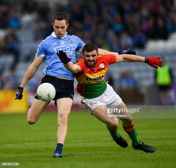 Laois Ireland 3 June 2017 Dean Rock of Dublin has his shot blocked by Séan Murphy of Carlow during the Leinster GAA Football Senior Championship...
