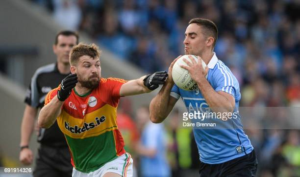 Laois Ireland 3 June 2017 James McCarthy of Dublin in action against Daniel St Ledger of Carlow during the Leinster GAA Football Senior Championship...