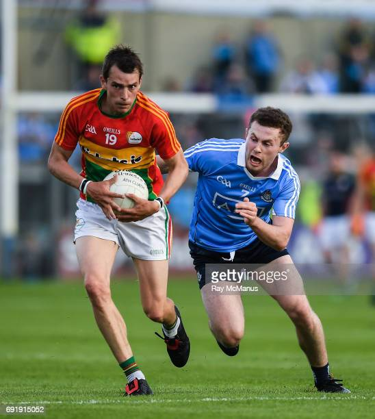 Laois Ireland 3 June 2017 Sean Gannon of Carlow in action against Jack McCaffrey of Dublin during the Leinster GAA Football Senior Championship...