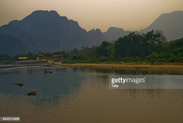 Laos, Nam Song river bank