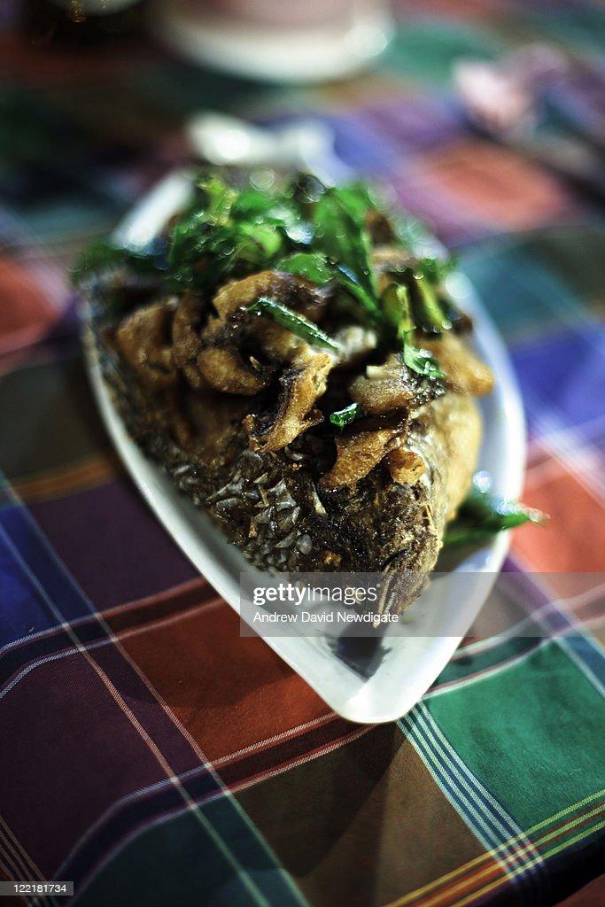 Lao-style deep fried fish : Stock Photo