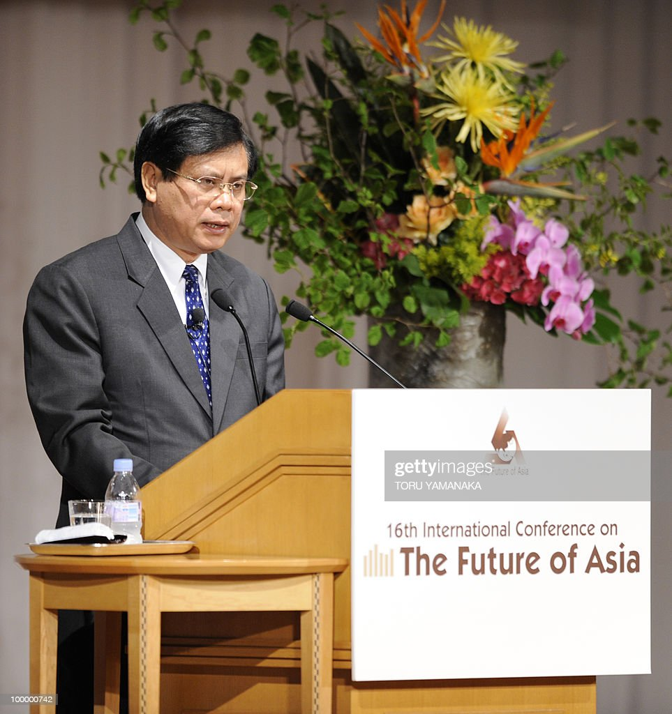 Laotian Prime Minister Bouasone Bouphavanh delivers a speech during an international conference on the Future of Asia in Tokyo on May 20, 2010. Asian political, diplomatic, business and academic leaders attend a symposium, entitled 'The Future of Asia.' AFP PHOTO/Toru YAMANAKA