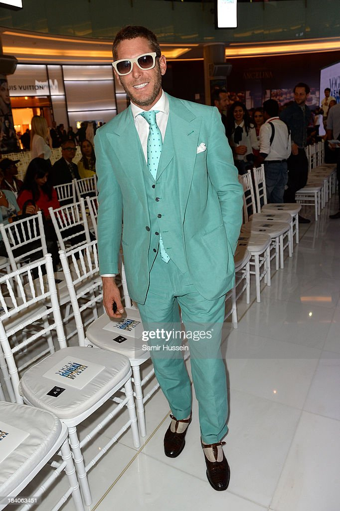 <a gi-track='captionPersonalityLinkClicked' href=/galleries/search?phrase=Lapo+Elkann&family=editorial&specificpeople=771607 ng-click='$event.stopPropagation()'>Lapo Elkann</a> arrives at the catwalk show during the Vogue Fashion Dubai Experience at Dubai Mall on October 10, 2013 in Dubai, United Arab Emirates.