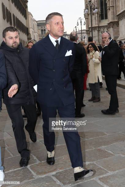 Lapo Elkann attends a public mass honouring Franca Sozzani at Duomo on February 27 2017 in Milan Italy