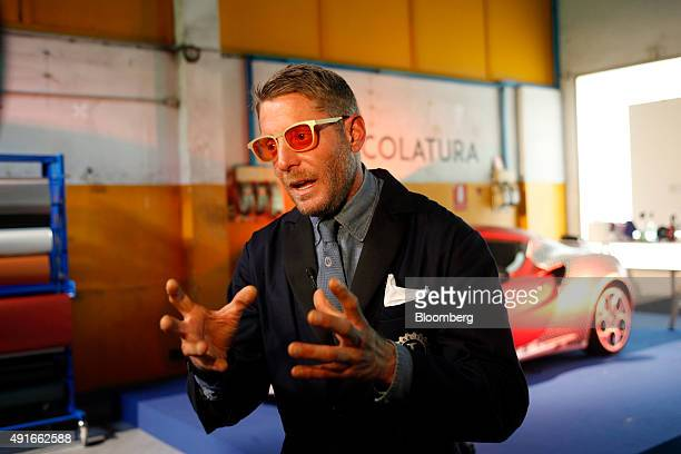 Lapo Elkann chairman of Italia Independent Group and Garage Italia Customs speaks during a Bloomberg Television interview at the launch of Garage...