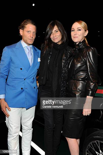 Lapo Elkann Emmanuelle Alt and Frida Giannini attend the 550 by Gucci launch party during the Milan fashion week womenswear Autumn/Winter 2011on...