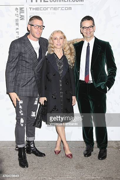 Lapo Elkann Franca Sozzani and Federico Marchetti attend the The Vogue Talents Corner fashion show during Milan Fashion Week Womenswear Autumn/Winter...