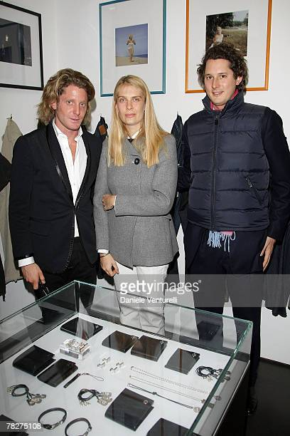 Lapo Elkann Lavinia Borromeo and John Elkann attends the launch party of 'Italia Independent Ambassador' at the fashion store San Carlo on December 5...