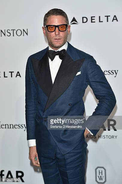 Lapo Elkann walks the red carpet of amfAR Milano 2016 at La Permanente on September 24 2016 in Milan Italy