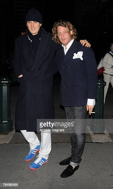 Lapo Elkann with his brother John Elkann leave Bryant Park after the Diana Von Furstenberg fashion show February 3 2008 in New York City