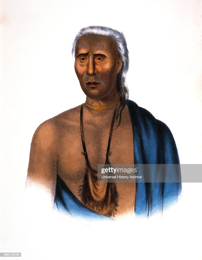 Lappawinsoe or Lappawinze LenapeDelaware Chief HandColored Lithograph after Painting by Gustavus Hesselius 1838
