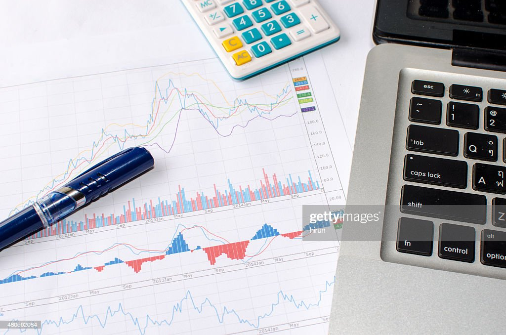 laptob and graphs : Stock Photo
