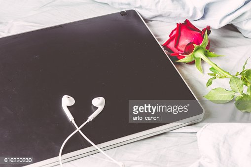 Laptop and red rose  on white bed : Foto stock