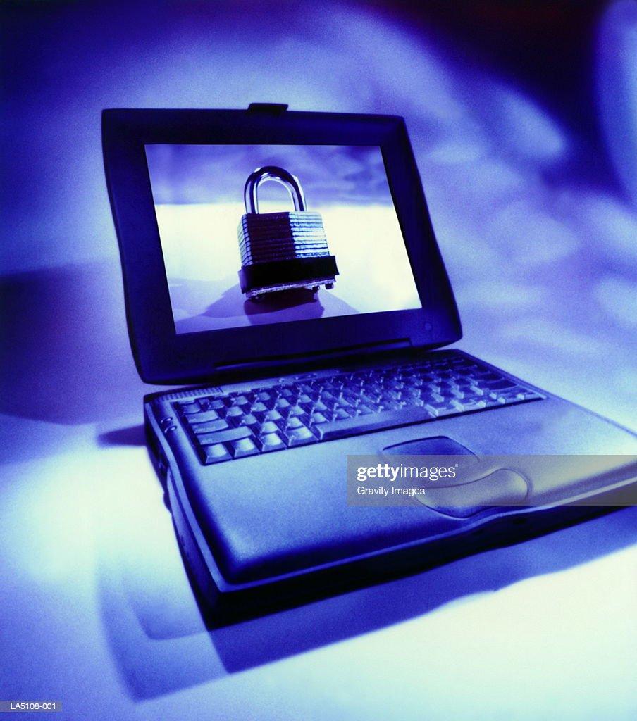 Laptop computer, lock on screen, close-up (Digital Enhancement) : Stock Photo
