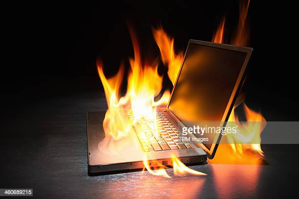 Laptop computer on fire