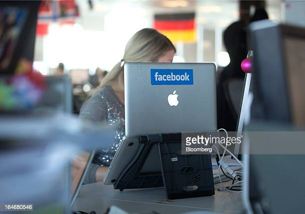 A laptop computer with the Facebook logo is seen on display at the offices of Facebook Inc's European headquarters at Hanover Quay in Dublin Ireland...