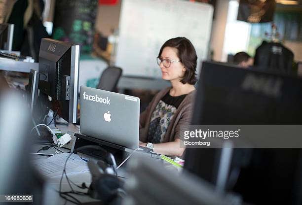 A laptop computer with the Facebook logo is seen on display in the offices of Facebook Inc's European headquarters at Hanover Quay in Dublin Ireland...