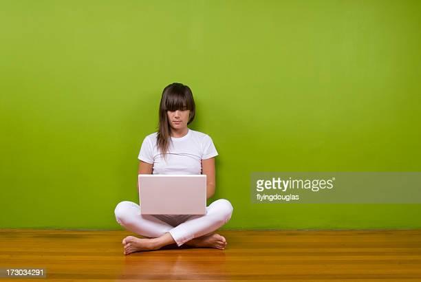 Laptop Girl in White