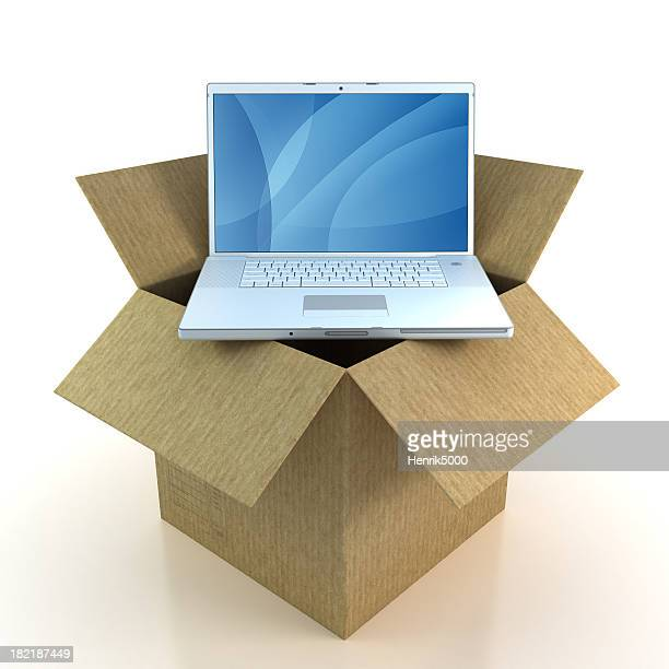 Laptop in cardboard box - isolated with Clipping Path