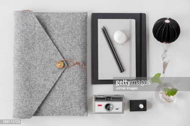 Laptop in case, office supplies
