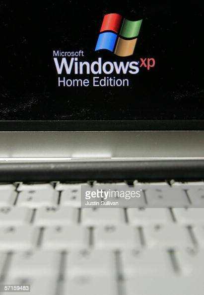 A laptop is seen using Microsoft Windows XP operating system software at a CompUSA store March 22 2006 in San Francisco California Microsoft the...