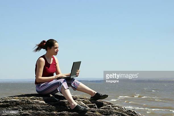 Laptop on beach III