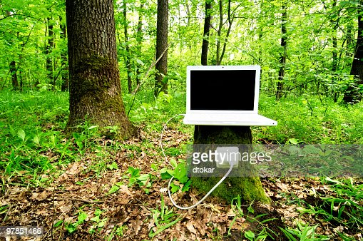 laptop auftor l dt mit hilfe der natur stock foto getty images. Black Bedroom Furniture Sets. Home Design Ideas