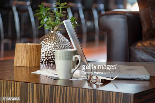Laptop on table : Foto stock
